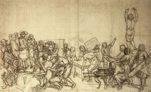 800px-Charles_Le_Brun_-_Louis_XIV_Visiting_the_Gobelins_Factory_-_WGA12553