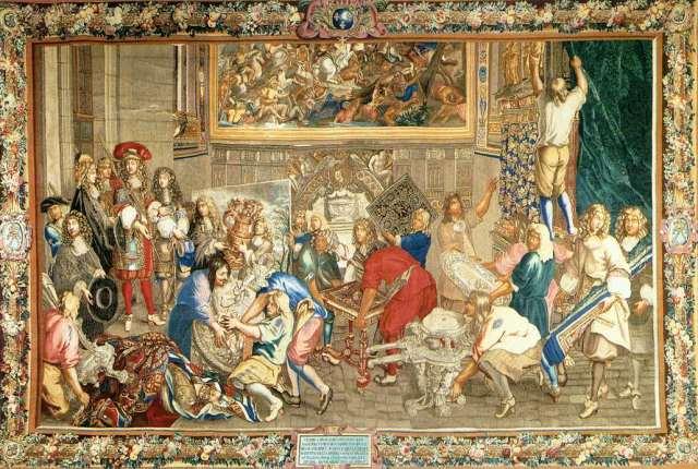 charles-le-brun-louis-xiv-visitant-la-manufacture-des-gobelins-tapisserie-1673