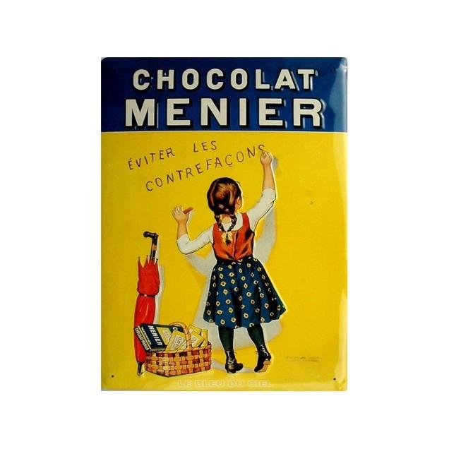 plaque-metal-publicitaire-30x40cm-bombee-fille-chocolat-menier
