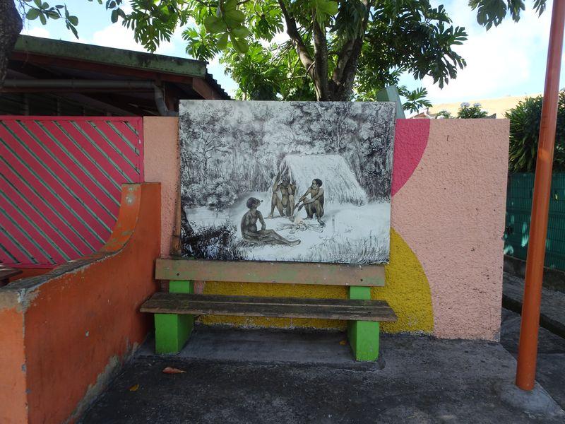 Bushaltestelle von Saint Anne mit Sklavenbild