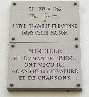 Plaques_Jean_Cocteau,_Emmanuel_Berl_et_Mireille,_36_rue_de_Montpensier,_Paris_1
